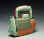 "Teapot. 2012. 9""h x 9""w x 5""d Hand built cone 03 earthenware, terra sigillata, underglaze, and glaze. Electric fired."