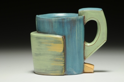 "Mug. 2015. 4""h x 4""w x 3""d Hand built cone 3 red clay, terra sigillata and glaze. Electric fired. Photo by Charlie Cummings."