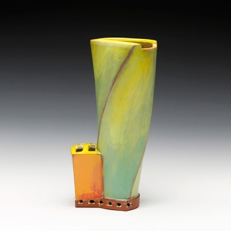 """Vase. 2015. 11""""h x 6""""w x 4.5""""d Hand built cone 3 red clay, underglaze and glaze. Electric fired. Photo by Anthony Schaller."""