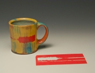 Mug with laser cut Ceramic Art Cart solid color decal sheet.